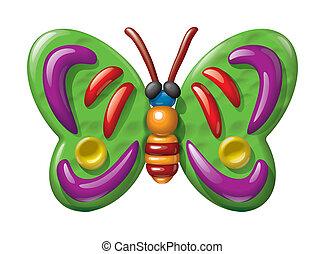 Plasticine butterfly illustration