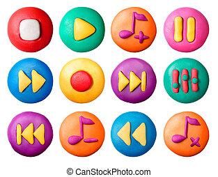 plasticine, buttons., kind
