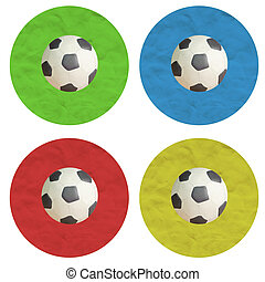 Plasticine Color Football on white background