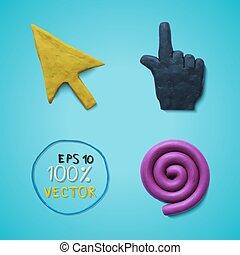 Plasticine colored cursors - Vector illustration cursors...