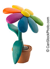 Plasticine colorful flower with leaves in brown pot -...