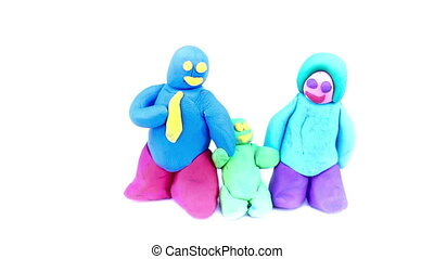 plasticine family's day concept on isolated