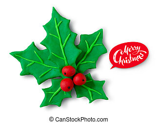 Plasticine figure of Christmas Holly