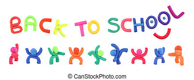 Plasticine figures and letters spelling back to school
