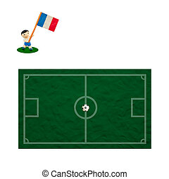 Plasticine Football with the flag on grass and board background