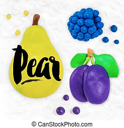 Plasticine fruits pear