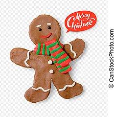 Plasticine illustration of gingerbread man