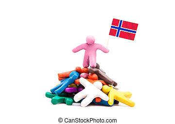 Plasticine man with the Norwegian flag