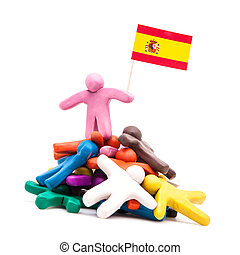 Plasticine man with the Spanish flag