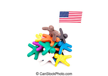Plasticine man with the USA flag