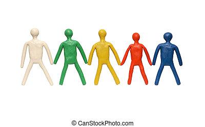 plasticine, mannen, in een rij