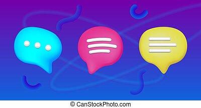 plasticine, sms, セット, アイコン, スピーチ泡, 芸術