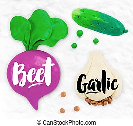 Plasticine vegetables beet