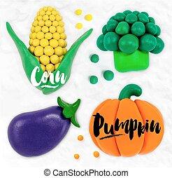 Plasticine vegetables pumpkin - Plasticine modeling...