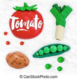 Plasticine vegetables tomato - Plasticine modeling...