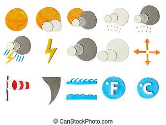 plasticine weather icons on white background