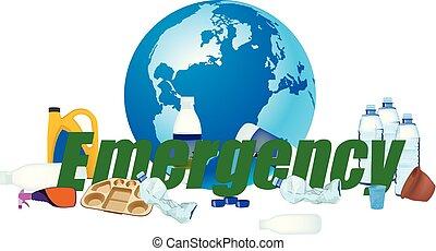 plastik, affald, nødsituation, land