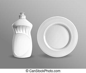 plastik, dishwashing flüssigkeit, flasche, mockup
