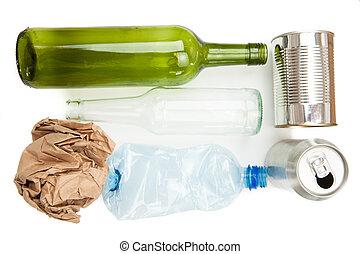 plastik, glas, avis, metallisk