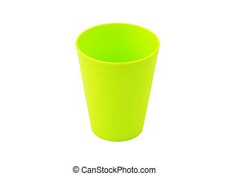 plastik, grün, becher