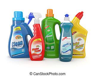plastik, reinigungsmittel, products., putzen, bottles.