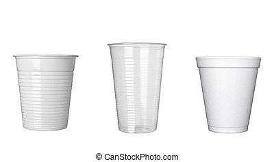 plastik schale, von, bohnenkaffee, dring, getränk,...