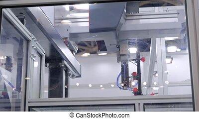 plastique, automatique, tasses, bras robotique, tissu, pots, mouvements, succion, manipulateur