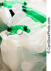 plastique, blanc, vert, utilisé, sacs