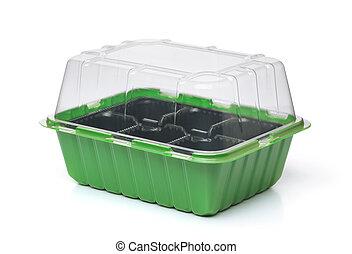 plastique, boîte, couverture, vide, plant, transparent