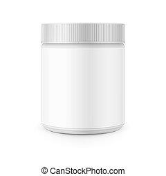 plastique, boîte métallique, gabarit, remover., blanc, tache