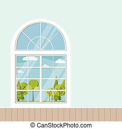 plastique, bois, francais, plat, salle, panoramique, blanc, cadre fenêtre, dessin animé, ou, style.