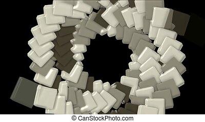 plastique, carrée, papier, trou, carte, rotation, tunnel, arraya., math, géométrie