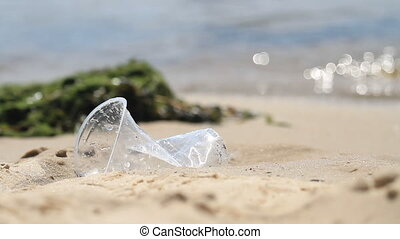 plastique, caved, mensonges, rivage, tasse