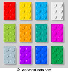 plastique, construction, kit, blocks.