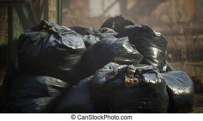 plastique, déchets ménagers, frein, ville, dehors, sacs, ...
