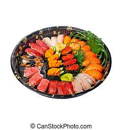 plastique, exprès, prendre, sushi, plateau, loin
