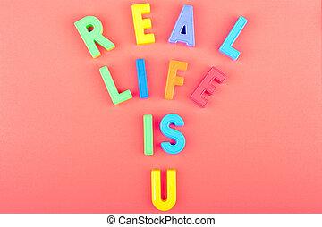 plastique, lettres, vrai, vie, wrtitten, vous