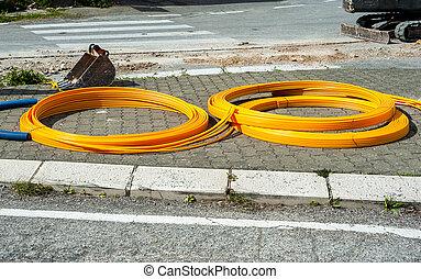 plastique, orange, bobines, canaux transmission, long
