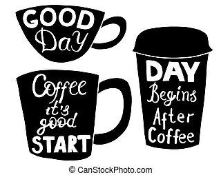 plastique, papier, cups., café thé