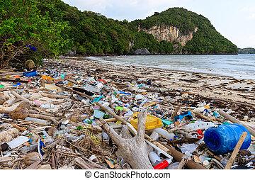 plastique, plage, pollution