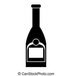 plastique, silhouette, contour, bouchon, bouteille, champagne