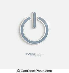 plastique, symbole., puissance, icône