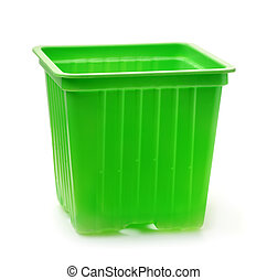 plastique, vert, crèche, pots, seedlings
