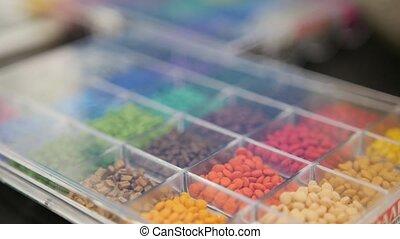 plastiques, extrusion, granules, coloré, manufactory, plastique, confection, extruder