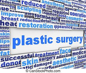 plastische chirurgie, nachricht, begrifflich, design