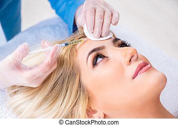 plastische chirurgie, vrouw, bezoeken, arts