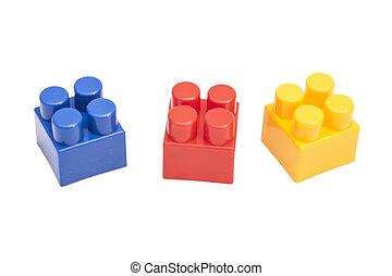 plastische speelbal, blokjes, op wit, achtergrond
