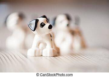 plastisk, hund, leksak