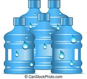 plastyczne butelki, z, czysty, woda do picia