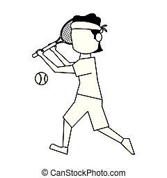 plasyer, tennis kula, svart, avatar, racket, vit